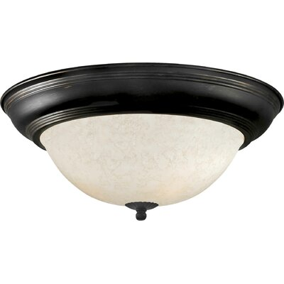 Vigue 1-Light Flush Mount - Marble Glass Size / Finish: 14 H x 6 W / Bordeaux