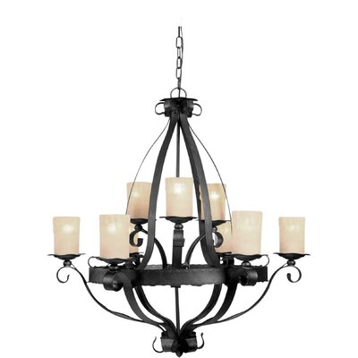 9 Light Chandelier with Rustic Umber Glass Shades
