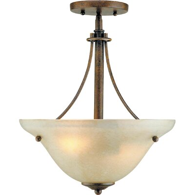 2-Light Sloped Semi Flush Mount Finish: Chestnut / Gold Dust