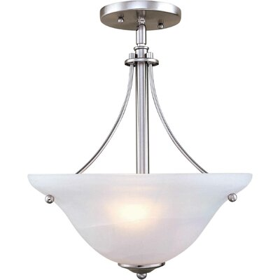 2-Light Sloped Semi Flush Mount Finish: Brushed Nickel / Marble