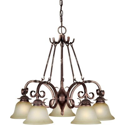 5 Light Chandelier with Umber Mist Glass Shades