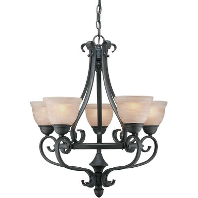 5 Light Chandelier with Umber Shade