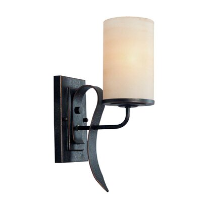 One Light Wall Sconce with Rustic Shade in Bordeaux