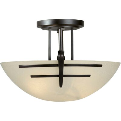 2-Light Incandescent Semi Flush Mount Finish: Antique Bronze / Umber Linen