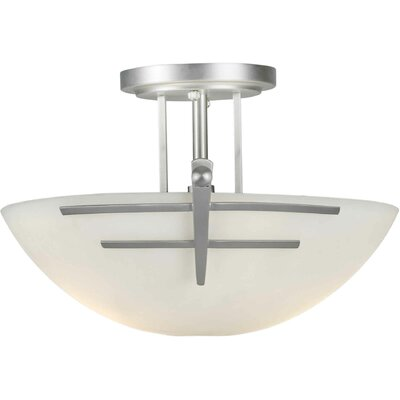 Rolling Hills 2-Light Incandescent Semi Flush Mount Finish: Brushed Nickel / Satin Opal