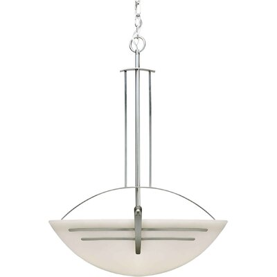 4 Light Bowl Inverted Pendant Finish / Shade: Brushed Nickel / Satin Opal