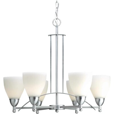 6-Light Shaded Chandelier Finish / Shade: Brushed Nickel / Satin Opal