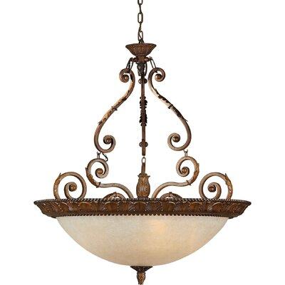 25 Three Light Bowl Pendant in Rustic Sienna Size: 32 H x 34 W
