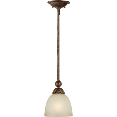 1-Light Mini Pendant with Umber Mist Shade in Rustic Spice