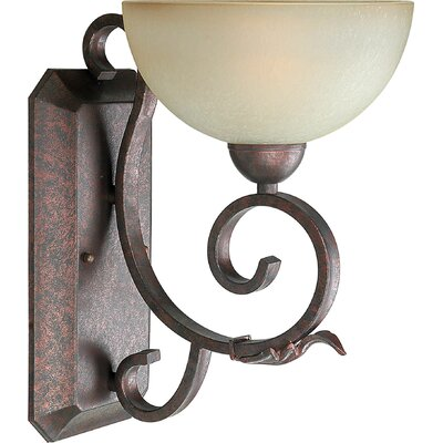One Light Wall Sconce with Umber Mist Shade in Black Cherry