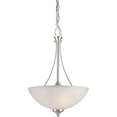 2 Light Bowl Inverted Pendant Finish / Shade: Brushed Nickel / White Linen