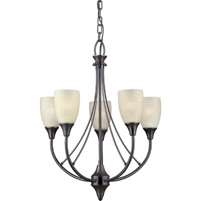 Vanzandt 5-Light Shaded Chandelier Finish / Shade: Antique Bronze / Umber Linen