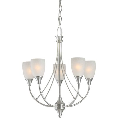 Vanzandt 5-Light Shaded Chandelier Finish / Shade: Brushed Nickel / White Linen