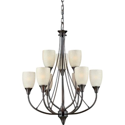9-Light Shaded Chandelier Finish / Shade: Antique Bronze / Umber Linen