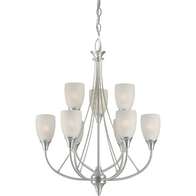 Vanzandt 9-Light Shaded Chandelier Finish / Shade: Brushed Nickel / White Linen