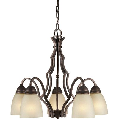 5 Light Chandelier with Umber Linen Glass Shades
