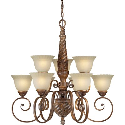 9 Light Chandelier with Umber Mist Shades
