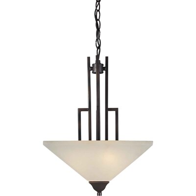 Three Light Pendant with Umber Shade in Antique Bronze