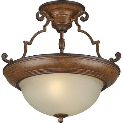 Dawn 15 2-Light Semi Flush Mount Finish: Rustic Sienna / Umber