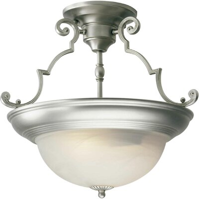 Dawn 15 2-Light Semi Flush Mount Finish: Brushed Nickel / Marble