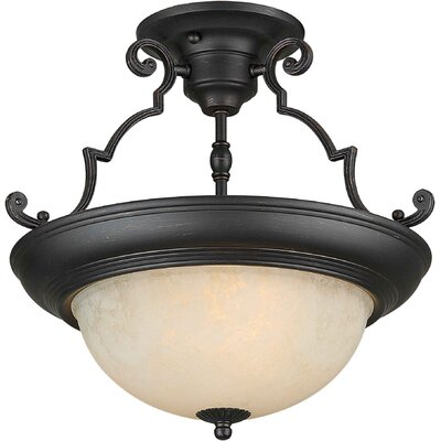 Dawn 15 2-Light Semi Flush Mount Finish: Bordeaux / Tapioca