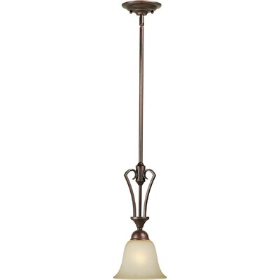 1-Light Mini Pendant with Umber Mist Glass Shade in Black Cherry