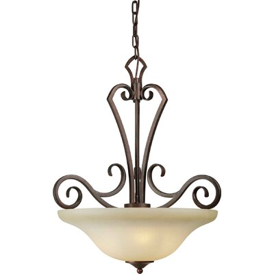 Three Light Bowl Pendant with Umber Mist Glass Shade in Black Cherry