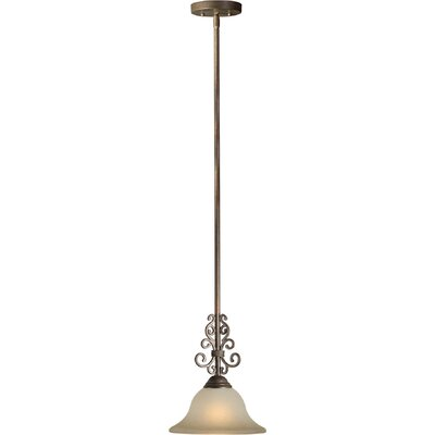 1-Light Mini Pendant with Umber Shade in Black Cherry