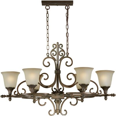 6 Light Chandelier with Umber Shades
