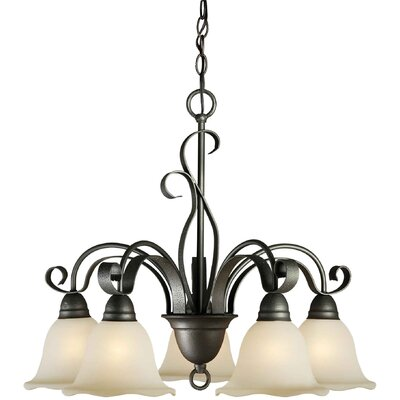 5 Light Chandelier with Umber Glass Shade