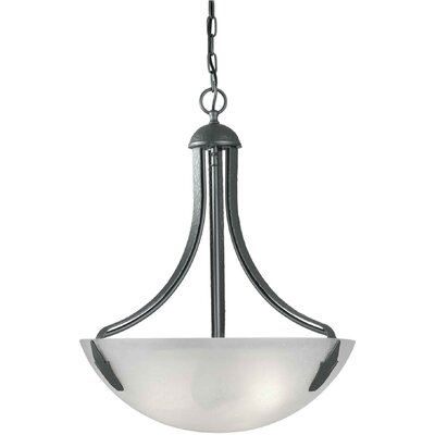 Four Light Bowl Pendant in Natural Iron