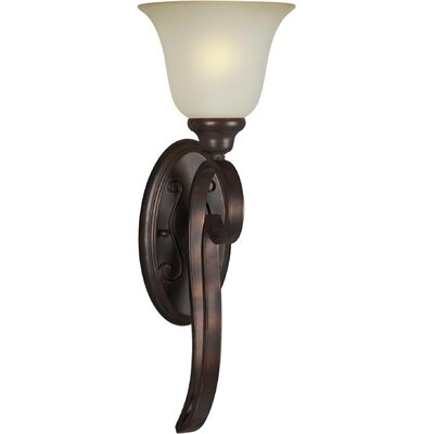One Light Wall Sconce with Umber Glass in Antique Bronze
