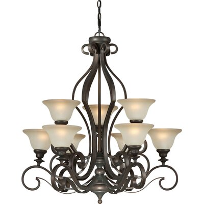 9 Light Chandelier with Umber Glass Shades
