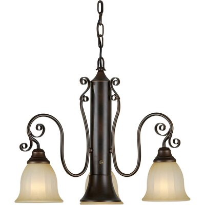4 Light Chandelier with Umber Mist Shade