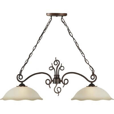 Two Light Island Pendant with Umber Shade in Antique Bronze