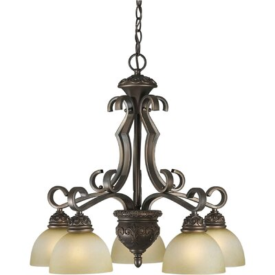 5 Light Chandelier with Umber Mist Shades