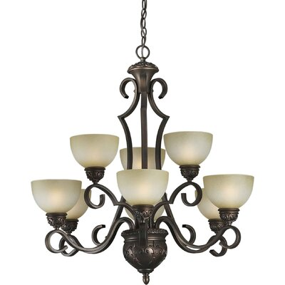 9 Light Chandelier with Umber Mist Shade