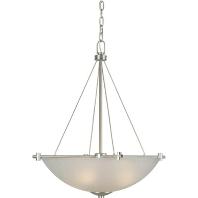 4-Light Bowl Pendant with White Shade in Brushed Nickel