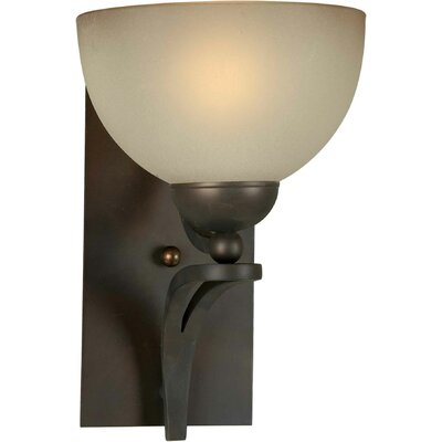 One Light Wall Sconce with Umber Glass Shade in Antique Bronze