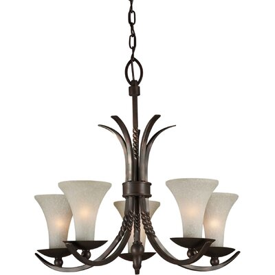 5 Light Chandelier with Umber Linen Glass Shade