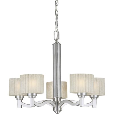 5 Light Chandelier with Umber Linen Shade
