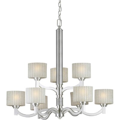9 Light Chandelier with Umber Linen Shade