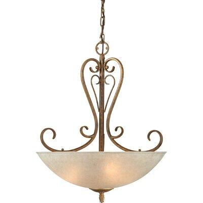 Four Light Bowl Pendant in Chestnut