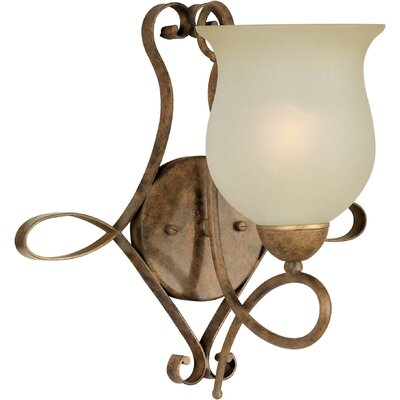 One Light Wall Sconce with Umber Glass Shade in Chestnut