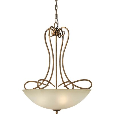 4-Light Bowl Pendant with Umber Shade in Chestnut