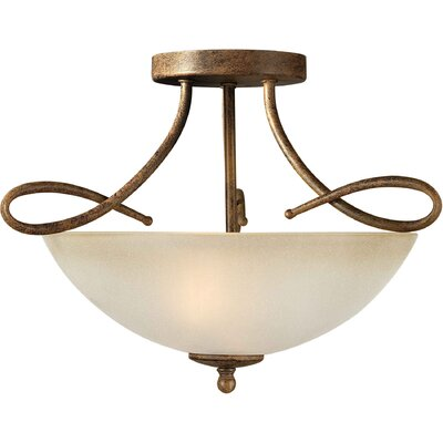 2 Light Semi Flush Mount - Umber Glass