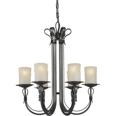 6 Light Chandelier with Umber Shade