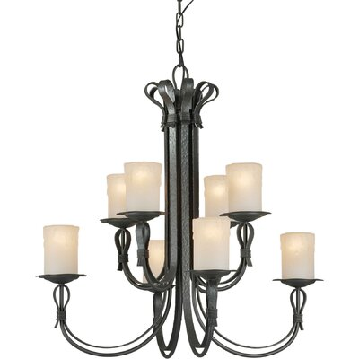8 Light Chandelier with Umber Shade