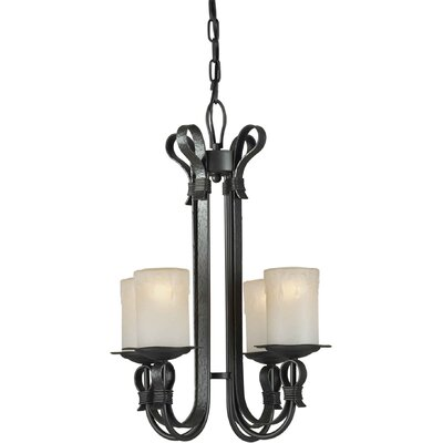 4 Light Chandelier with Umber Shade