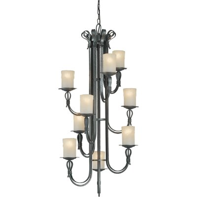 9 Light Chandelier with Umber Shade